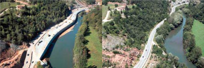 Aerial photograph of the River Ter before and after the construction of Wall 13.5.